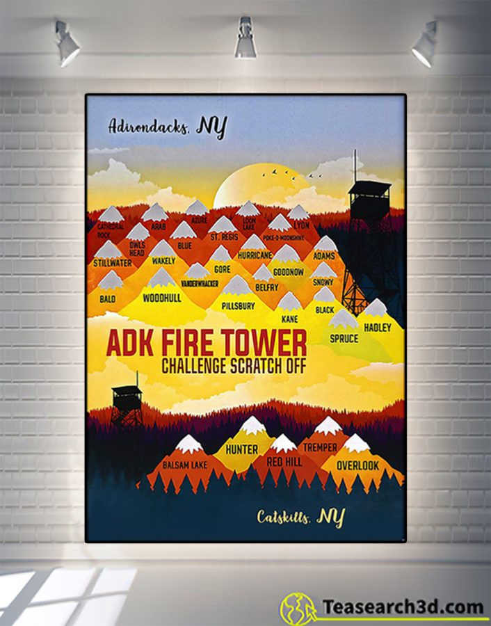 ADK fire tower challenge scratch off poster
