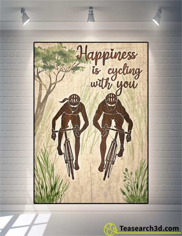 Happiness is cycling with you personalized custom name poster