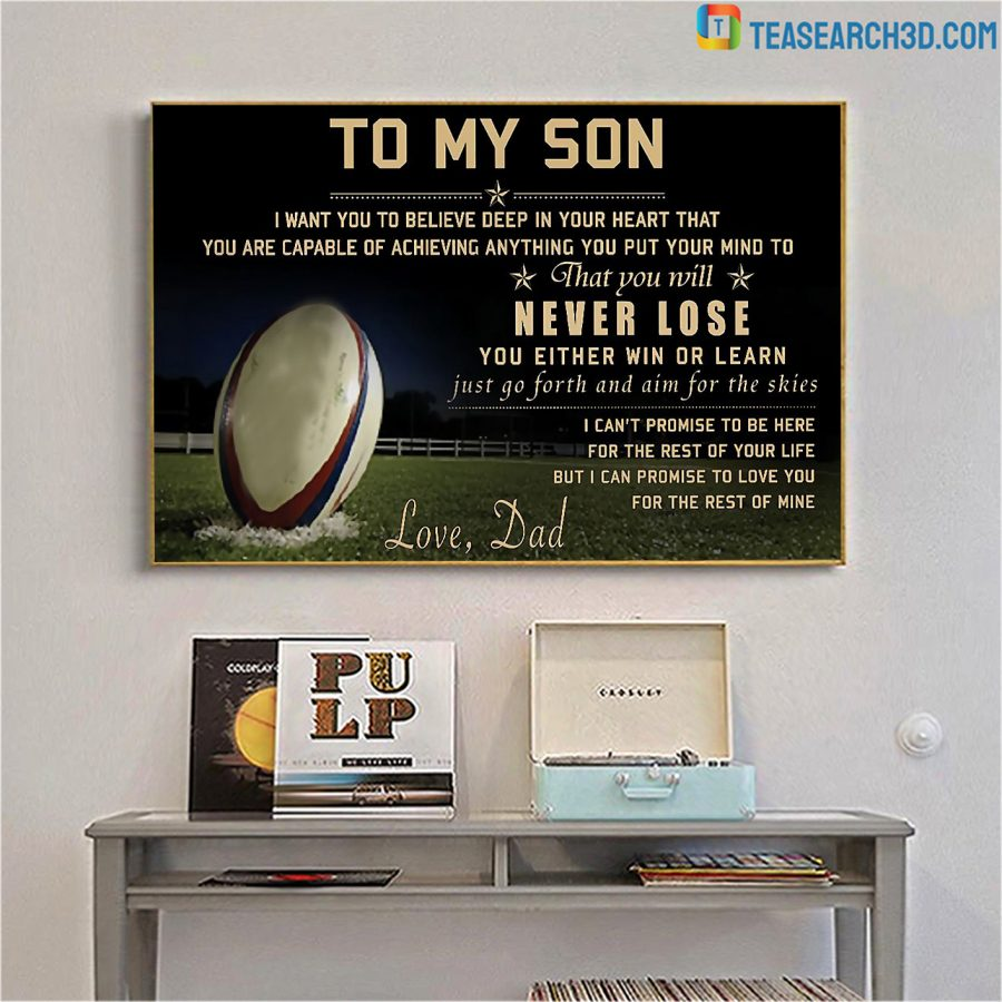 Rugby to my son love dad poster