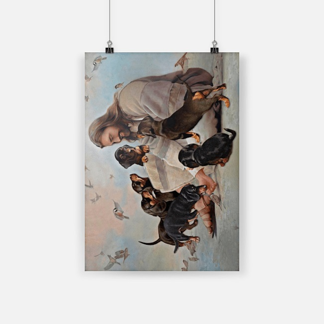 God surrounded by Dachshund angels canvas