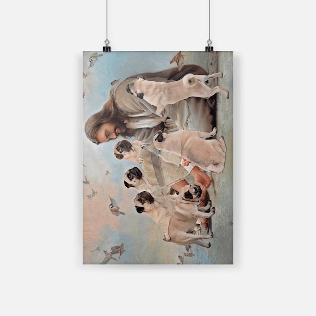 God surrounded by Pug angels canvas